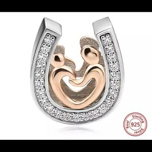 Horseshoe cz mom and son pendent